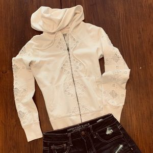 Cream embroidered hoodie lucky Brand